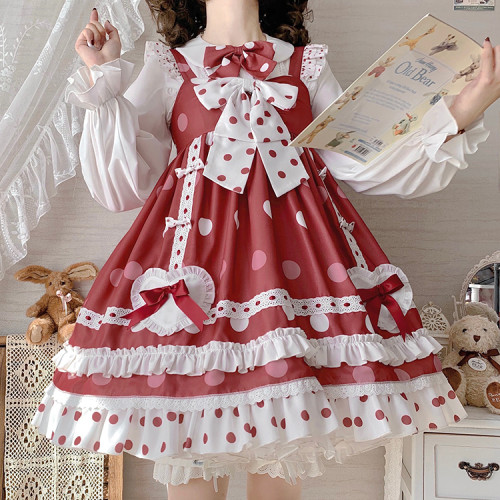 Red Polka Dot Sweet Bowknots Summer Lolita Jumper Skirt JSK