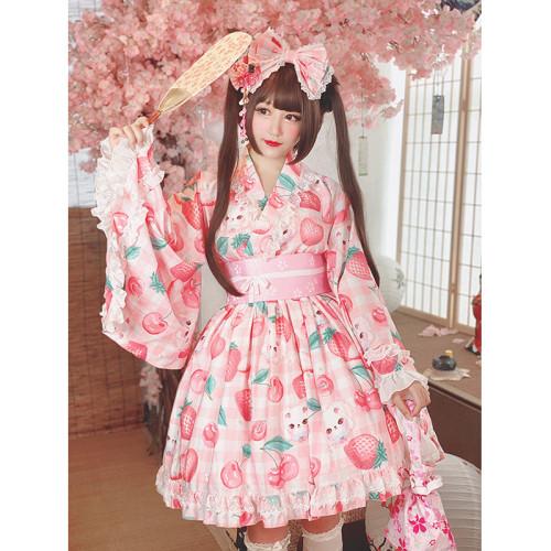 Cherry Strawberry Print Yukata Set Top and Skirt Sweet Summer Outfits