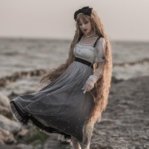 Milky Way Dream Dress Ruffles Lace Pearl Gradient Color Fairy Lolita Tulle Dress
