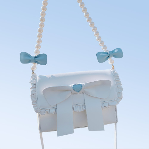 Miss Jenny Pearl Chain Bows Shoulder Messenger Bag Sweet Girl Lolita Crossbody Bag