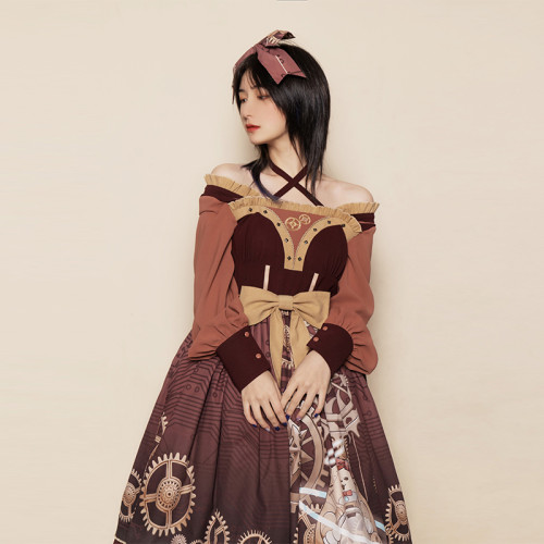 Steampunk Lolita Dress Mechanical Cat Print Long Sleeve OP Dress