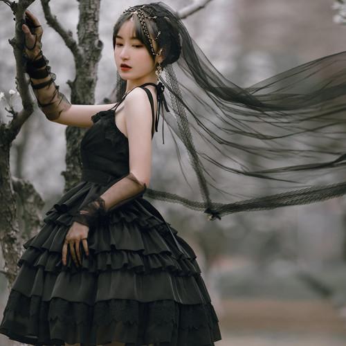Harajuku Girl Cross Strap Layered Dress Shining Summer Lolita Black Skirt