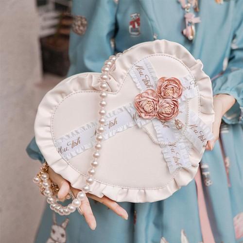 Sweet Lolita Ruffles Lace Handbag Cross Ribbon Heart Shaped Bag