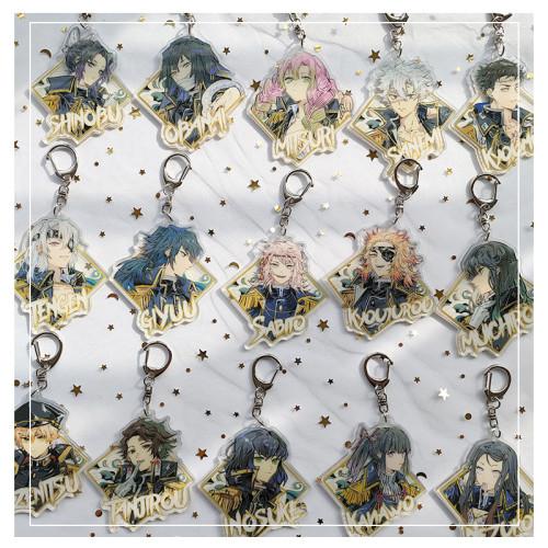 Anime Demon Slayer: Kimetsu No Yaiba Nezuko Zenitsu Inosuke Uniform Ver. Cute Badges Keychain Pendants Colored Paper