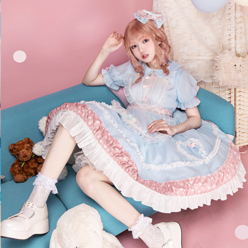 Two Tone Light Blue and Pink Heart Shape with Polka Dot Sweet Lolita Short Sleeve OP Dress