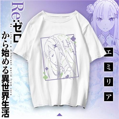 Anime Re: Zero -Starting Life in Another World Rem Ram Emilia Short Sleeve Summer T-shirt