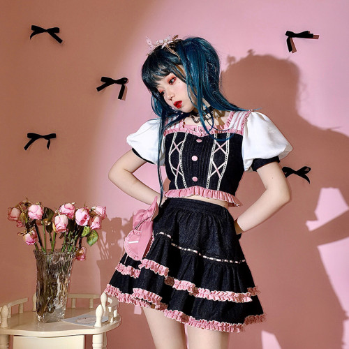 Black Pink Sweet Girl Lolita Outfits Short Sleeve Top with Ruffle Denim Skirt