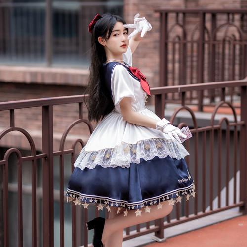 Moon and Star Embroidery Sailor Collar Lace Bowknot Ruffle Star Tassel Sweet Lolita OP Dress