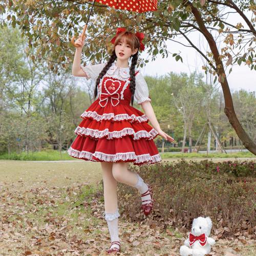 Cherry Embroidery Lace Bowknot Layered Ruffle Dress Sweet Girl Summer Lolita OP Dress