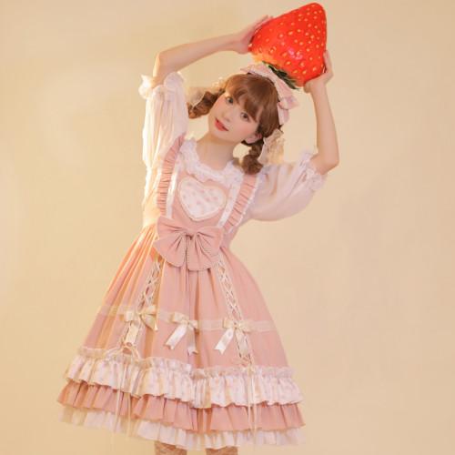 Sweet Girl Polka Dot Lace Bows Ruffle Lolita JSK
