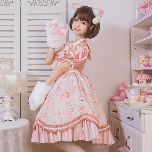 Cat with A Crown Print Lace Bowknot Peter Pan Collar Sweet Lolita Short Sleeve Summer OP Dress