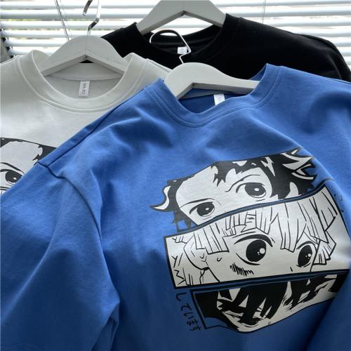 Anime Demon Slayer: Kimetsu No Yaiba Tanjirou Zenitsu Inosuke Print Short Sleeve Loose T-shirt