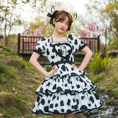 Cow Prints Black and White Puff Sleeve Layered Summer Lolita OP Dress