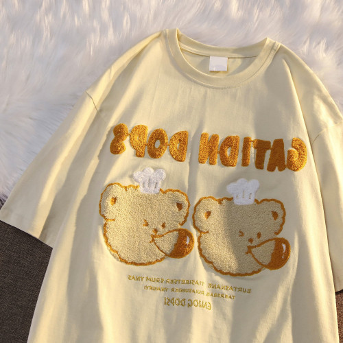 Vintage Blow Bubbles Fluffy Bear Soft Girl Cute Embroidered Summer Top
