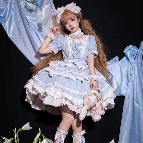 Light Blue Cross Strap Puff Sleeve Lace Flower Bowknots Layered Dress Summer Sweet Lolita Dress
