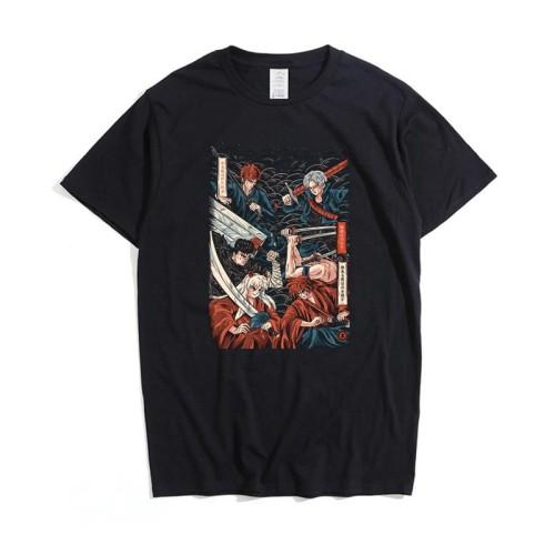 Samurai Collection Swordsmen Inuyasha Zoro Print Unisex Summer Short Sleeve T-shirt
