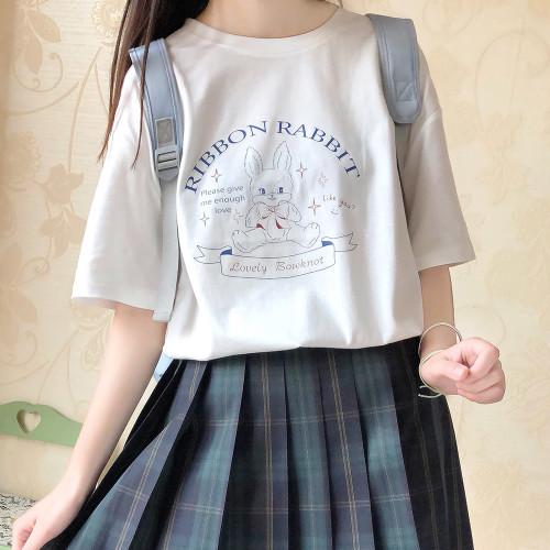 Ribbon Rabbit Cute Print Soft Girl Summer T-shirt
