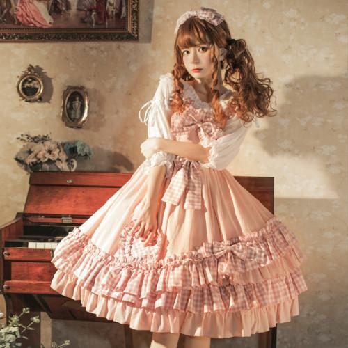 Sweetheart Princess Pink Bowknot Ruffle Plaid Skirt Summer Lolita Jumper Skirt JSK