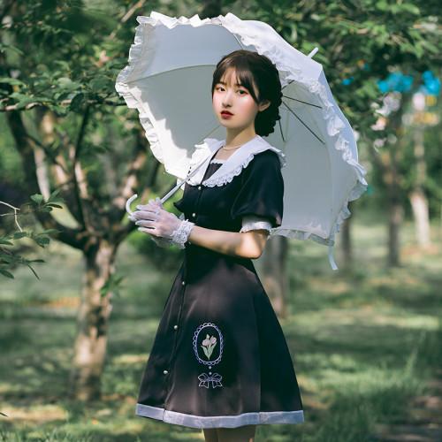 Fairy Tulip Embroidery Print Lace Pearl Puff Sleeve Black Summer Lolita OP Dress