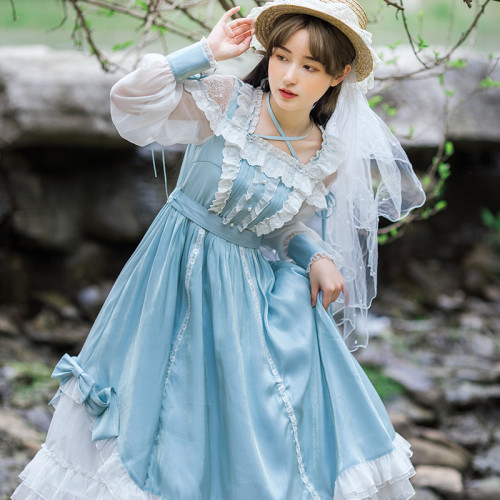 Light Blue Lace Bowknot Cross Strap Fairy Shiny Summer Lolita Dress