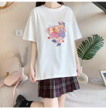 Miss Alice and Poker Cards Print Cotton Short Sleeve Summer Loose T-shirt