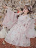 Japanese Style Wagashi Print Sweet Girl Long Sleeve Lolita OP Dress