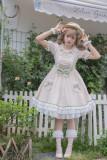 Honey Citron Tea Ecru and Light Green Lace Bows Short Sleeve Summer Sweet Lolita OP Dress