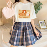 Friend Bear Bunny and Flower Soft Girl Sweet Summer Short Sleeve T-shirt