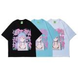 Harajuku Fashion Anime Girl Print Summer Short Sleeve T-shirt