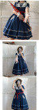 Blue and White Contrast Color Navy Style Sailor Collar Summer Short Sleeve Dress