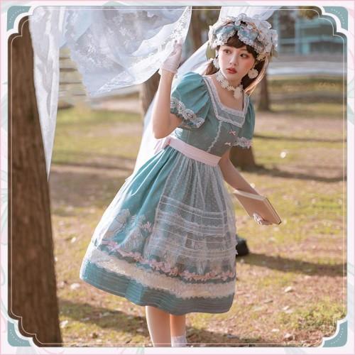 Idyllic Style Floral Print Square Neck Puff Sleeve Sweet Summer Lolita OP Dress