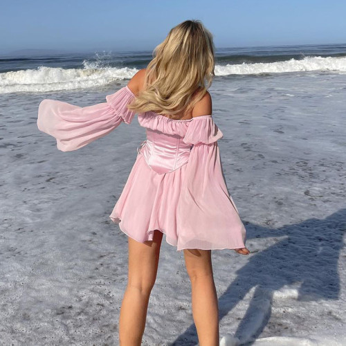 Summer Puff Sleeve Off-shoulder Chiffon Dress