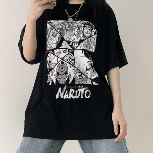Anime Naruto Print Harajuku Fashion Comic Style Loose Summer T-shirt