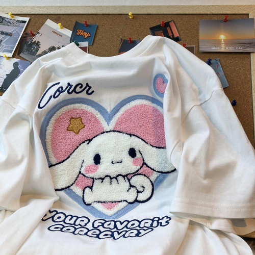 Cute Cinnamoroll Plush Embroidery Print Sweet Girl Summer Short Sleeve T-shirt
