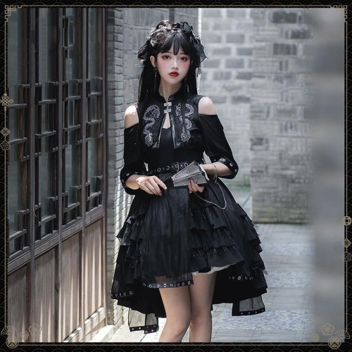 Gothic Style Off Shoulder Half Sleeve Embroidery Dragon Print Lolita JSK Dress