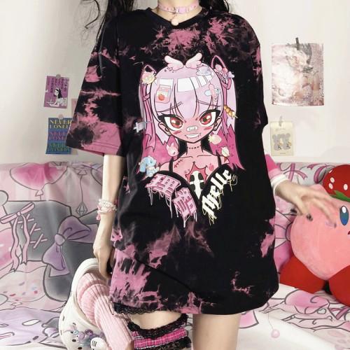Harajuku Style Anime Girl Print Tie-dyed Loose Short-sleeved Summer T-shirt