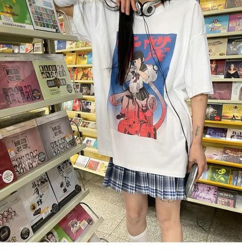 Retro Style Harajuku Anime Girl Print Soft Summer Short-sleeved T-shirt