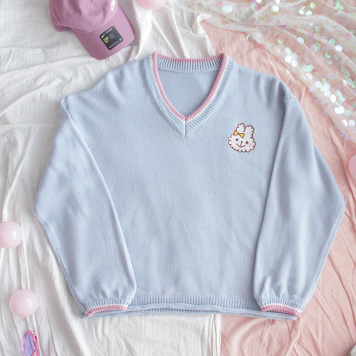 Cute Rabbit Blue V-neck College Style Soft Girl Loose Sweater