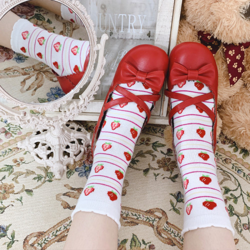 Cute Strawberry Print Cotton Sweet Girl Lolita Socks
