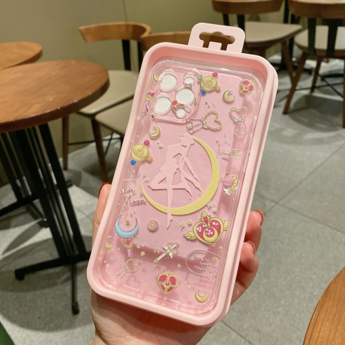 Anime Sailor Moon Transparent Soft Phone Cases for iPhone 12/11 Pro Max