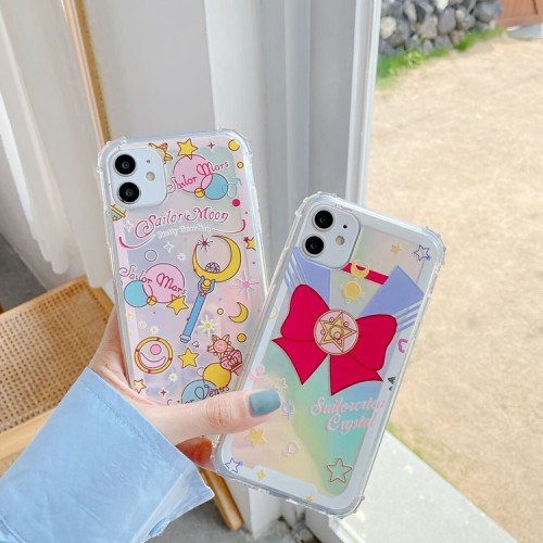 Anime Sailor Moon Holographic Color Cute Phone Cases for iPhone X/XS/11 Pro Max
