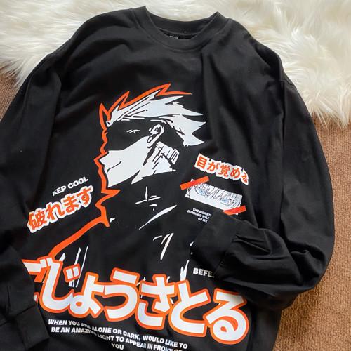 Anime Jujutsu Kaisen Gojo Satoru Print Long Sleeve Loose Top