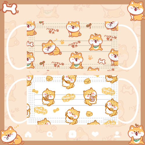 Super Cute Shiba Inu and Corgi Dog Print 3-Ply Disposable with Adjustable Ear Loops & Nose Wire for Adults