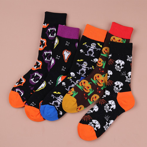 Halloween Pumpkin Skull and Ghost Print Street Style Fashion Cotton Socks