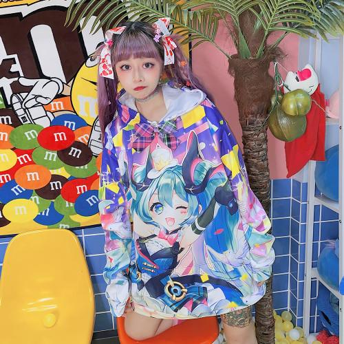 Cute Cartoon Hatsune Miku Colorful Printed Loose Hoodie Coat