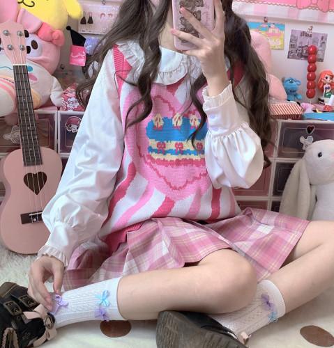 Cute Cake in the Pink Heart Sweet Sleeveless Sweater Stripe Soft Vest