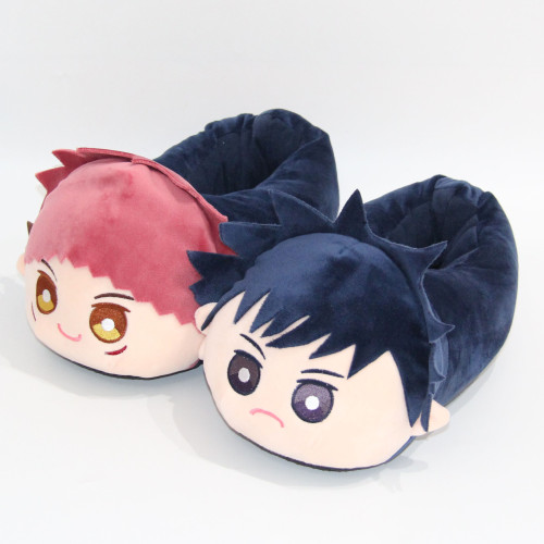 Anime Jujutsu Kaisen Yūji Itadori Fushiguro Megumi Cotton Plush Warm Slippers
