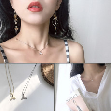 Sterling silver mermaid necklace Korean simple forest pendant zircon clavicle necklace