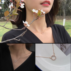 Korean drama goddess with the necklace Simple temperament zircon circle clavicle necklace