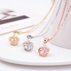 Crown Diamond Pendant Necklace Clavicle Necklace